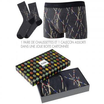 Boite cadeau Mikado 1 boxer et 1 paire de chaussettes en coton