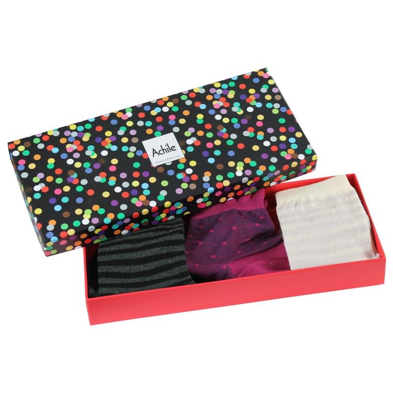 Coffret Maison Achile de 3 paires de chaussettes