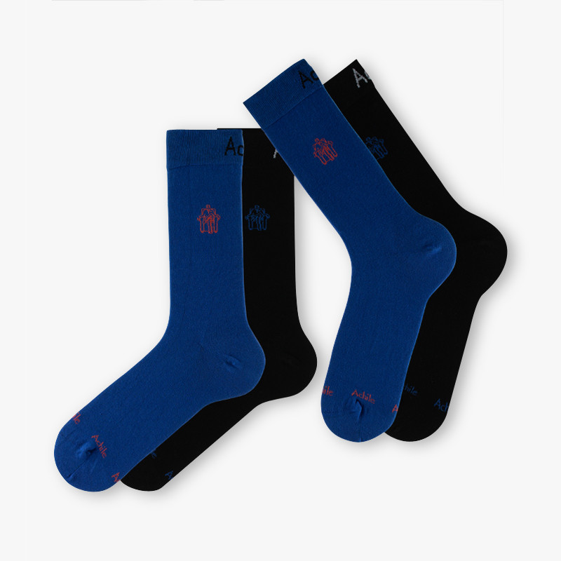 2 paires de chaussettes Petit Logo en coton noir/bleu